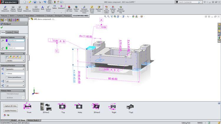 Nový produkt SolidWorks Model Based Design pomáhá definovat, organizovat a publikovat 3D informace o výrobě produktu (PMI).